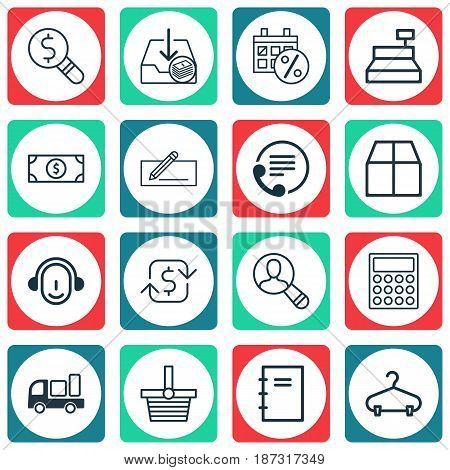 Set Of 16 Commerce Icons. Includes Business Inspection, Black Friday, Spiral Notebook And Other Symbols. Beautiful Design Elements.