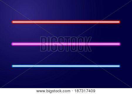 Neon blue red pink glowing lines or light swords of vector illustration