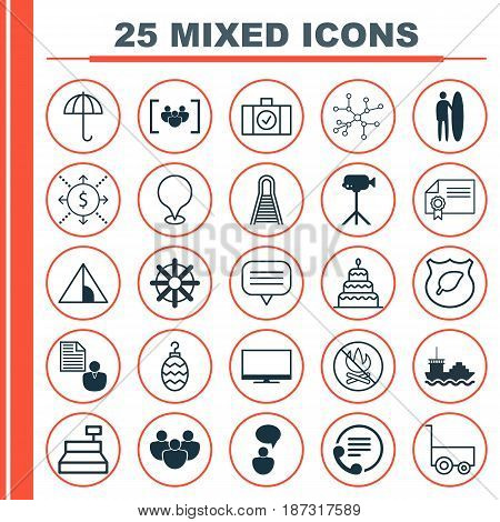 Set Of 25 Universal Editable Icons. Can Be Used For Web, Mobile And App Design. Includes Elements Such As Money, Report, Diploma And More.