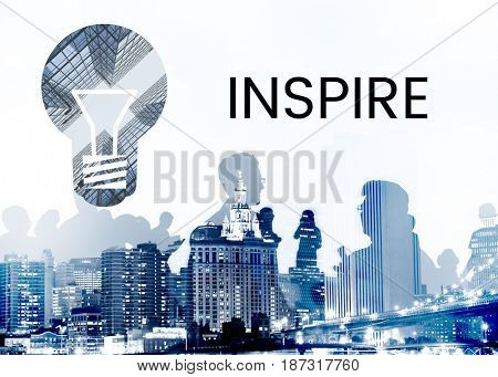 People with graphic of creative ideas digital technology light bulb