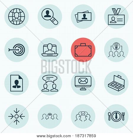 Set Of 16 Business Management Icons. Includes Business Aim, Portfolio, Dialogue And Other Symbols. Beautiful Design Elements.