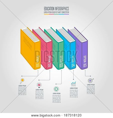 Books With Timeline Infographic Design Vector.