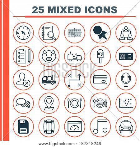 Set Of 25 Universal Editable Icons. Can Be Used For Web, Mobile And App Design. Includes Elements Such As Piglet, Loading Speed, Eating And More.