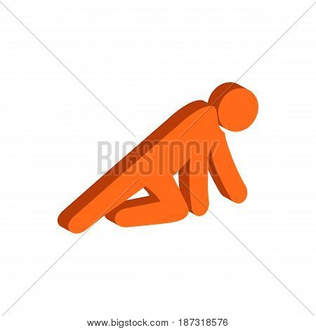 Man Crawling on Knees symbol. Flat Isometric Icon or Logo. 3D Style Pictogram for Web Design UI Mobile App Infographic. Vector Illustration on white background.