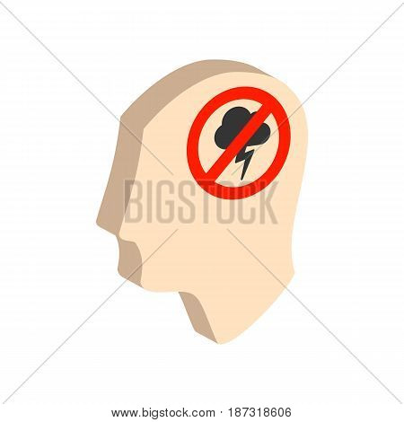Head With Storming Cloud, Stress Concept Symbol. Flat Isometric Icon Or Logo. 3D Style Pictogram For