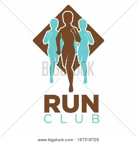 Professional run club emblem logo design in flat style. Brown and turquoise vector illustrations of men in motion, big rhombus behind and thick sign underneath isolated on white background.