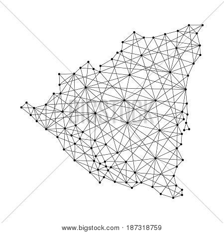 Map of Nicaragua from polygonal black lines and dots of vector illustration