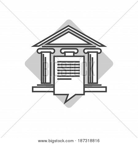 Universal emblem for organizations connected with law logotype design. Ancient pillars holding roof on small pedestal, paper document and big rhombus behind isolated vector illustration on white