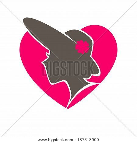 Woman in hat with broad brims and little flower profile dark silhouette inside pink heart vector illustration. Old-fashioned beauty salon minimalist promotional emblem isolated on white background.