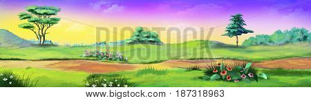 Rural landscape with path and flowers against purple sky in a Summer day. Digital Painting Background Illustration in cartoon style character.
