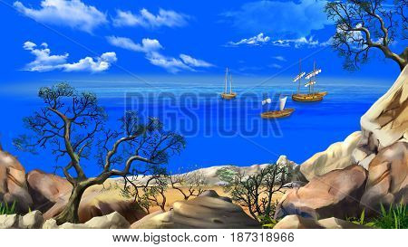 View of the bay with sailboats. Shore of the ocean coast of desert island. Summer day blue sky. Lonely tree. Digital Painting Background Illustration in cartoon style character.