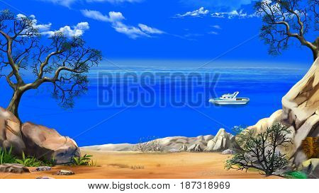 Sea View from the Cliff with modern yacht in a Summer day against the Deep Blue Sky. Digital Painting Background Illustration in cartoon style character.