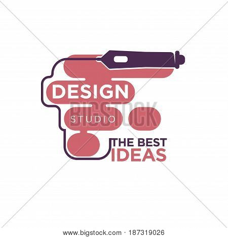 Design studio colorful logo label isolated on white. Vector illustration in flat style of graphic pink spots with dark line from pencil and inscriptions. Best ideas company logotype template