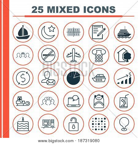 Set Of 25 Universal Editable Icons. Can Be Used For Web, Mobile And App Design. Includes Elements Such As Online Letter, Yacht, Crescent And More.