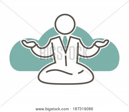 Faceless outlined simple character in office suit and tie sits in lotus pose with open turned up hands and big blue cloud behind isolated minimalistic vector illustration on white background.