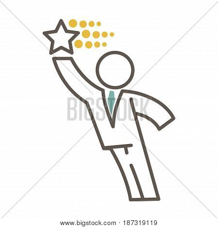 Outlined faceless male character in office suit and blue tie leans forward to five-pointed star that flies and leaves gold trails isolated minimalistic vector illustration on white background.