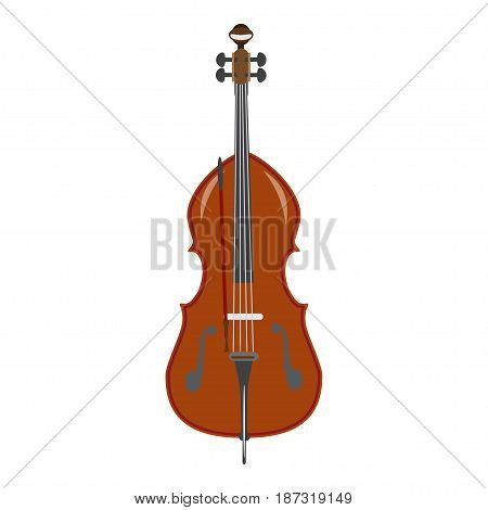 Vector illustration of double bass isolated on a white background. Contrabass in flat style.