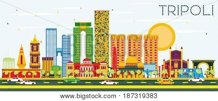 Tripoli Skyline with Color Buildings and Blue Sky. Business Travel and Tourism Concept with Historic Buildings. Image for Presentation Banner Placard and Web.