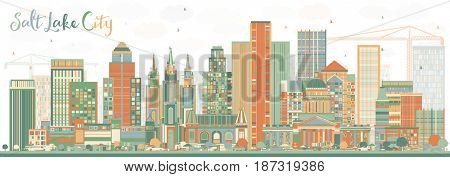 Abstract Salt Lake City Skyline with Color Buildings. Business Travel and Tourism Concept with Historic Architecture. Image for Presentation Banner Placard and Web Site.