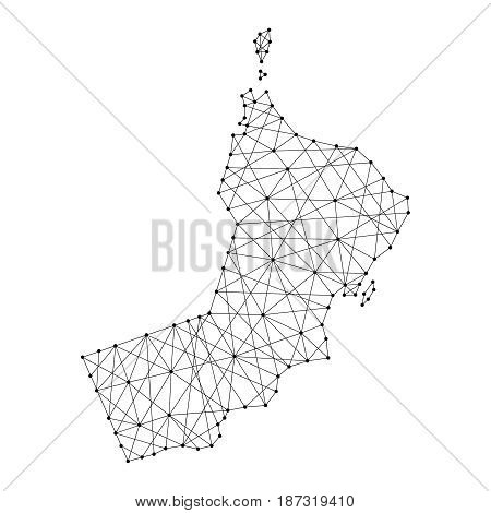 Map of Oman from polygonal black lines and dots of vector illustration
