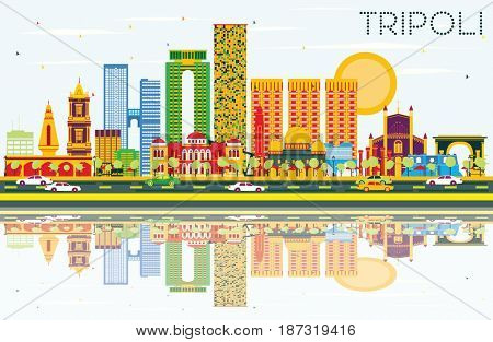 Tripoli Skyline with Color Buildings, Blue Sky and Reflections. Business Travel and Tourism Concept with Historic Buildings. Image for Presentation Banner Placard and Web.