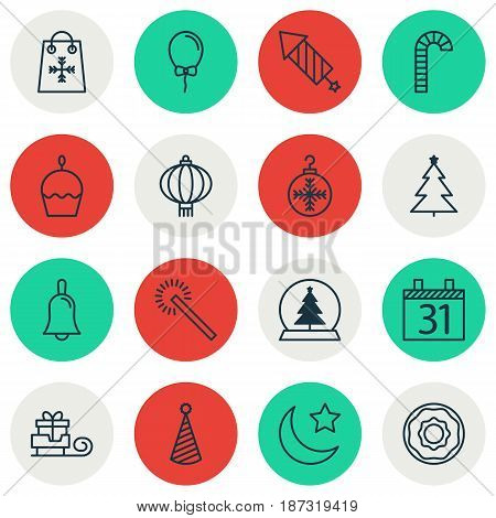 Set Of 16 Christmas Icons. Includes Birthday Cake, Date, Sparkles And Other Symbols. Beautiful Design Elements.