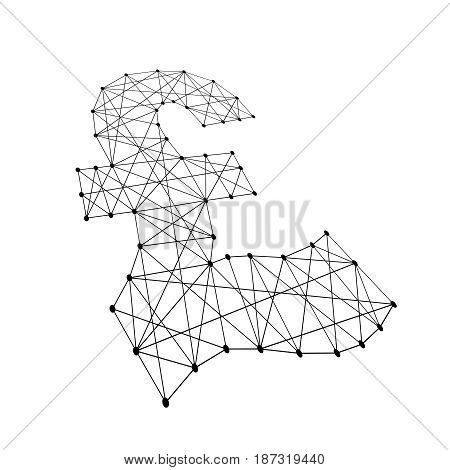 pound sterling sign from polygonal black lines and dots of vector illustration