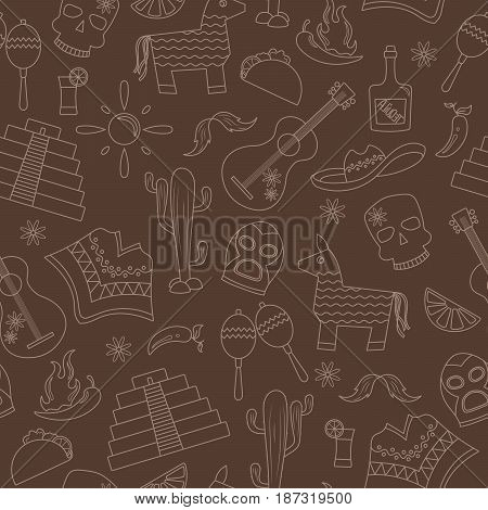 Seamless pattern on the theme of recreation in the country of Mexico contour icons on a brown background