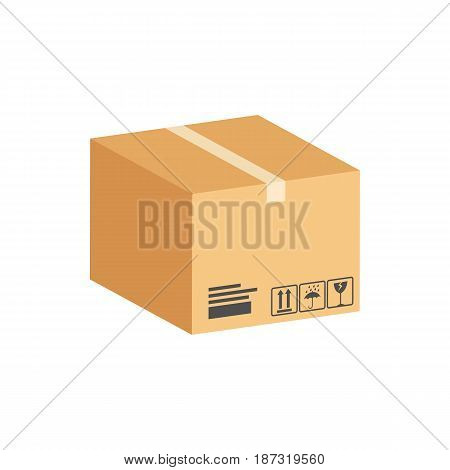 Cardboard Box, Parcel Symbol. Flat Isometric Icon Or Logo. 3D Style Pictogram For Web Design, Ui, Mo