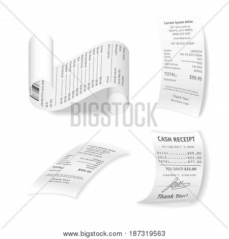 Paper financial checks vector collection isolated on white. Poster of bills in various sizes and positions confirming purchase of products or services, with information about date and place of buying