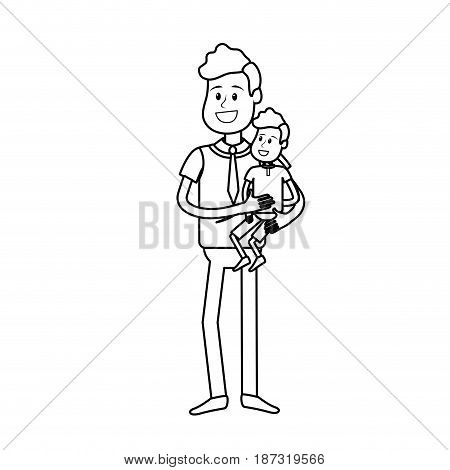 line nice father carrying his son in the hands, vector illustration