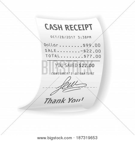 Paper cash receipt with fully written out real cost, discount, total price, customer signature and Thank you sign at bottom from distinguished date isolated vector illustration on white background.