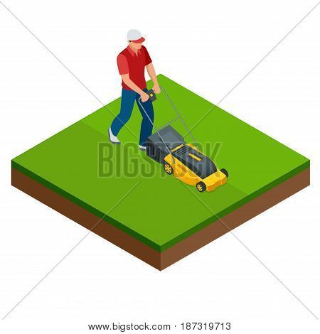 Man mowing the lawn with yellow lawn mower in summertime. Lawn grass service concept. Isometric vector illustration.