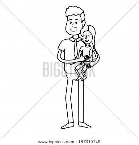 line nice father carrying his daughter in the hands, vector illustration