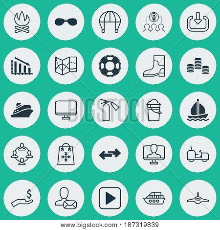 Set Of 25 Universal Editable Icons. Can Be Used For Web, Mobile And App Design. Includes Elements Such As Lifebuoy, Rubber Boot, Boat And More.