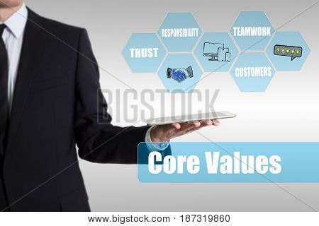 Core Values concept. Man holding a tablet computer.