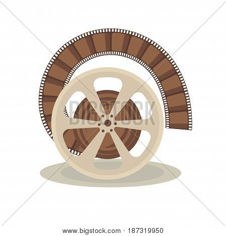 Vector illustration of spool with film on the white background.