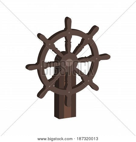 Ship Steering Wheel Symbol. Flat Isometric Icon Or Logo. 3D Style Pictogram For Web Design, Ui, Mobi