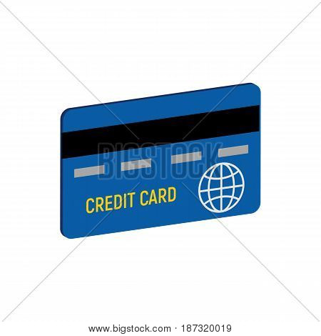 Credit Card Symbol. Flat Isometric Icon Or Logo. 3D Style Pictogram For Web Design, Ui, Mobile App,
