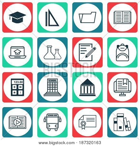 Set Of 16 Education Icons. Includes Academy, Distance Learning, Chemical And Other Symbols. Beautiful Design Elements.