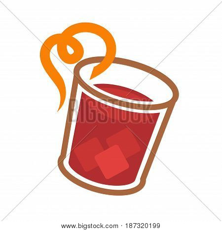 Vector illustration of red cocktail served with ice and citron piece isolated on white.