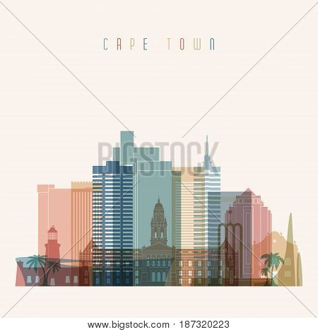 Transparent style. Cape Town skyline detailed silhouette. Trendy vector illustration.