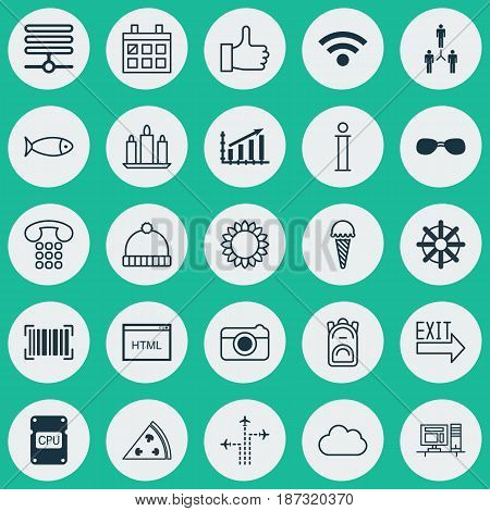 Set Of 25 Universal Editable Icons. Can Be Used For Web, Mobile And App Design. Includes Elements Such As Computer, Information Base, Wireless And More.