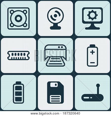Set Of 9 Computer Hardware Icons. Includes Router, Music, Battery And Other Symbols. Beautiful Design Elements.