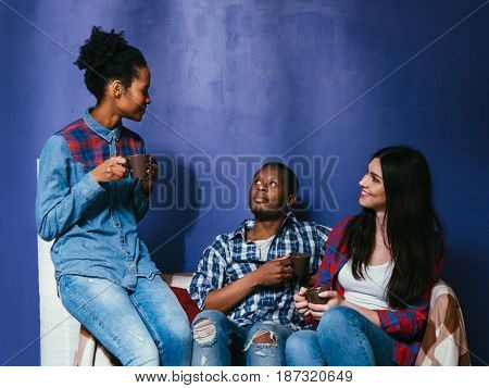 Company of young mixed races friends drink coffee or tea at home, sit on couch. Interracial friendship, fun, home leisure, communication concept.