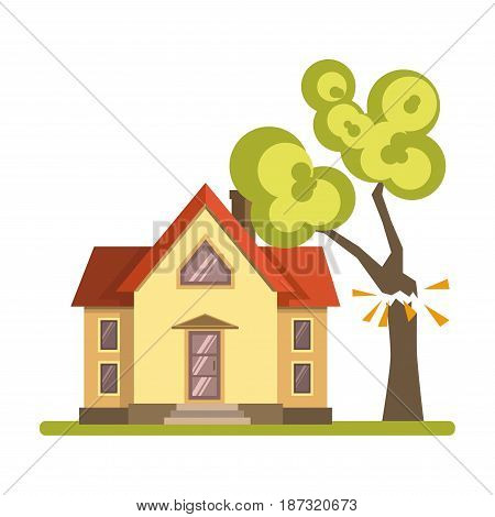 Vector illustration of a tree accidently falling on suburban house isolated on white.
