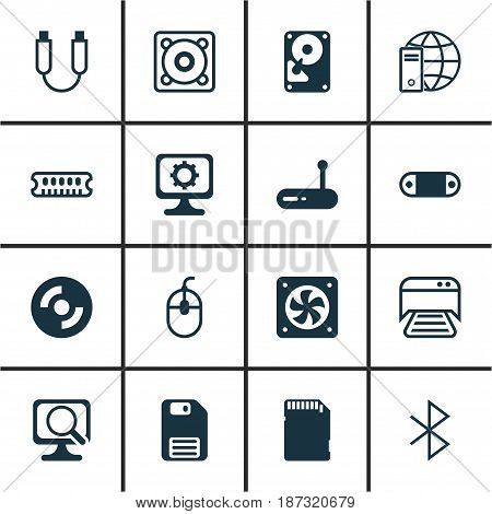 Set Of 16 Computer Hardware Icons. Includes Dynamic Memory, Wireless Connection, Radio Set And Other Symbols. Beautiful Design Elements.