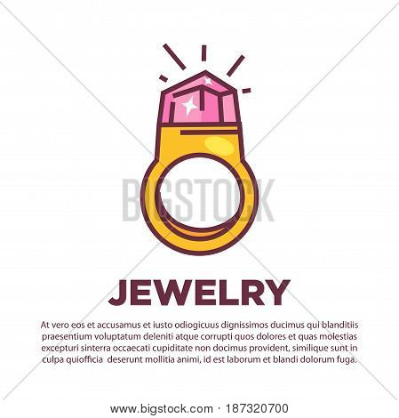 Vector illustration of golden ring with big gem and jewelry word isolated on white.