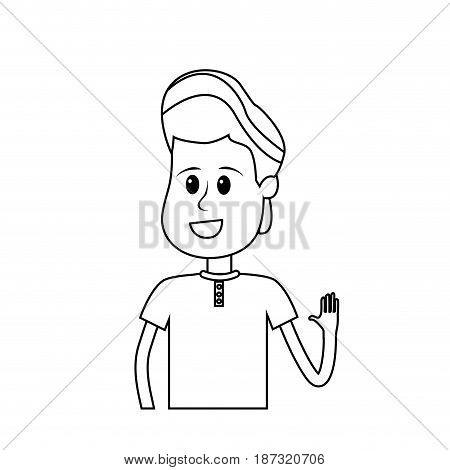 line nice boy with hand up and casual wear, vector illustration
