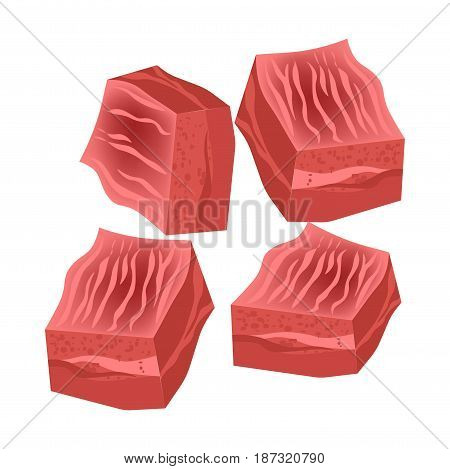 Vector illustration of raw red chopped meat pieces isolated on white.